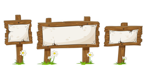 Set of three different cartoon wooden signs with flowers