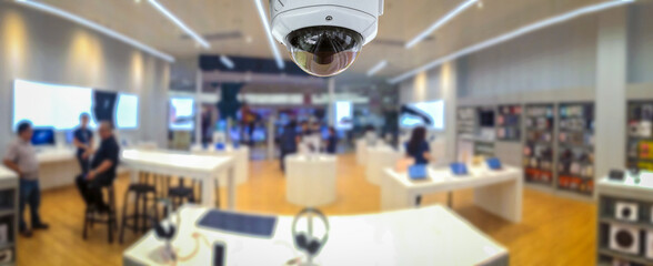 CCTV security panorama with shop store blurry background. Wall mural