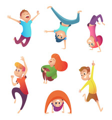 Happy kids in motion. Children in different poses and action. Cartoon Character design.