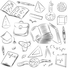Hand Drawn School Symbols. Children Drawings of Ball, Books,Pencils, Rulers, Flask, Compass, Arrows.