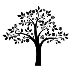 Black and white tree. Vector