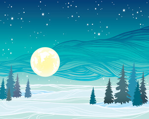 Winter landscape - full moon, forest and starry sky.