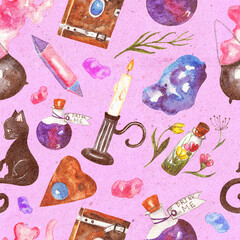 Seamless pattern with magic things. Magic book, potion, cauldron, crystal, magic stones, candle, black cat, dried flowers. Witch's background