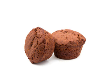 Set of chocolate muffins on white background