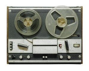 Retro reel tape recorder on a white background