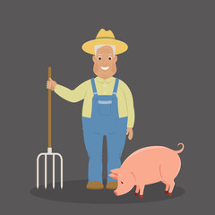 Happy old farmer with pig