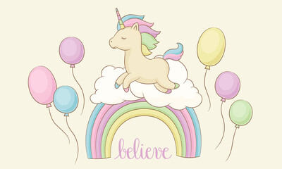 Happy unicorn on the rainbow with clouds and balloons