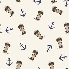 Dachshund and anchor seamless pattern.