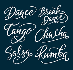 Tango and break dance hand written typography. Good use for logotype, symbol, cover label, product, brand, poster title or any graphic design you want. Easy to use or change color
