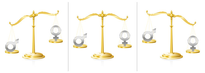 Scale with male and female symbol- balanced and unbalanced - symbol for equality or injustice, unfairness and discrepancy in gender questions - in judicial system, work life or private sphere.