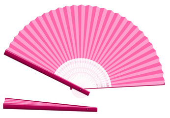 Pink hand fan for cooling when overheated for whatever reason - open and closed - three-dimensional - realistic. Isolated vector illustration on white background.