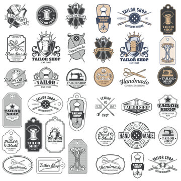 Big set of vector vintage tailor badges, stickers, emblems , signage with sewing needles, pins, thimbles, buttons, coils of thread, sewn on tags