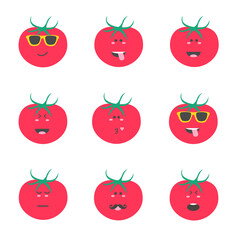 Set smile emoticon face in tomato. Vector illustration