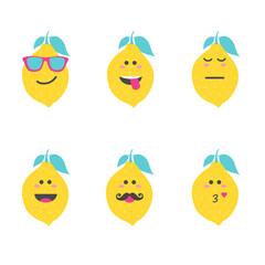 Set smile emoticon face in lemon. Vector illustration