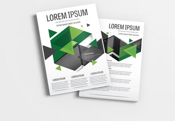 Brochure Layout with Green and Gray Accents 1