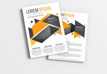 Brochure Layout with Dark Blue and Orange Accents 2