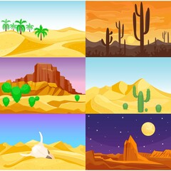 Desert mountains sandstone wilderness landscape background travel vector illustration.
