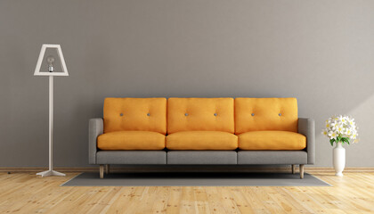 Gray and orange living room