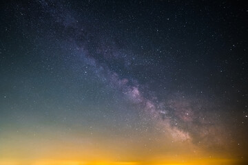 The Milky Way as seen from the summit of the hill Rahnfels in the Palatinate Forest in Germany.