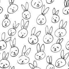 Cute rabbit face pattern. Seamless hand drawn background.
