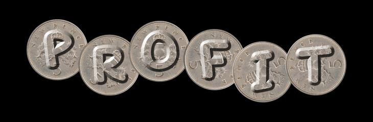 PROFIT – Coins on black background