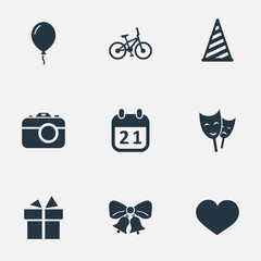 Vector Illustration Set Of Simple Birthday Icons. Elements Bicycle, Mask, Special Day And Other Synonyms Gift, Cap And Party.