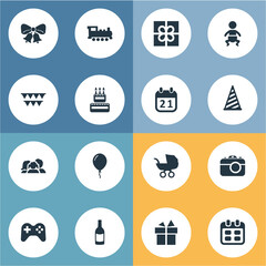Vector Illustration Set Of Simple Holiday Icons. Elements Resonate, Special Day, Camera And Other Synonyms Confectionery, History And Steam.