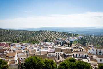 Andalusian mountain village with olive trees in Spain on a day in spring
