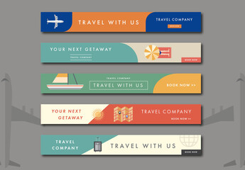 Five Leaderboard Travel Web Banner Layouts