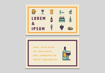 Wine and Cheese Business Card Layout