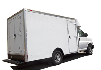 Rear and side view of isolated white delivery van.