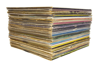 Stacked vintage lp record albums.