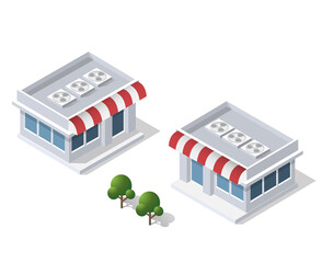 Isometric 3D icon shop market city infrastructure, urban buildings and construction