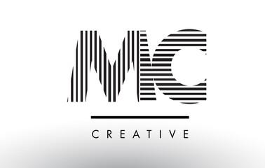 MC M C Black and White Lines Letter Logo Design.