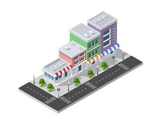 Isometric 3D shop market
