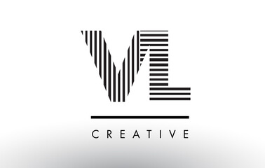 VL V L Black and White Lines Letter Logo Design.