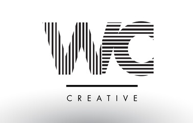 WC W C Black and White Lines Letter Logo Design.