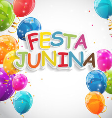 Festa Junina Holiday Background. Traditional Brazil June Festival Party. Midsummer Holiday. Vector illustration with Ribbon and Flags