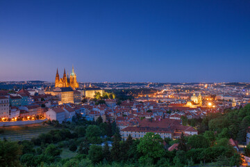 Prague Skyline after Dark. With Lesser Town, Old Town of Prague and Castle Complex.