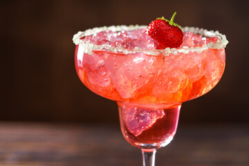 Close-up shot of  Strawberry.Margarita ,macro shot.
