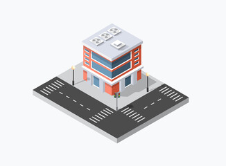 Isometric 3D shop market city infrastructure, urban buildings and construction