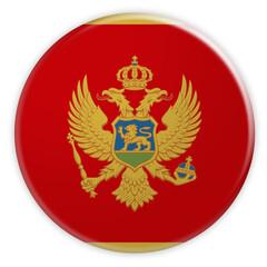 Montenegro Flag Button, 3d illustration on white background