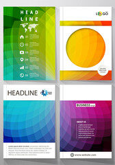 Business templates for brochure, magazine, flyer or annual report. Cover template, easy editable vector, flat layout in A4 size. Colorful design background with abstract shapes, overlap effect.