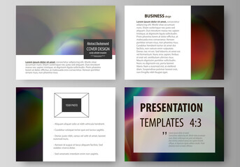 Set of business templates for presentation slides. Easy editable layouts in flat style, vector illustration. Colorful design background with abstract shapes, bright cell backdrop.