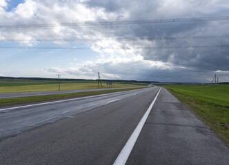highway in the begin of storm