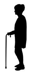 Silhouette of Elderly woman with glasses walking with cane