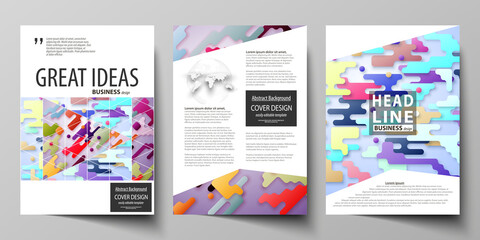 Business templates for brochure, flyer, report. Cover design template, abstract vector layout in A4 size. Bright color lines and dots, minimalist backdrop, geometric shapes, minimalistic background.