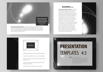 Set of business templates for presentation slides. Easy editable abstract vector layouts in flat design. Sacred geometry, glowing geometrical ornament. Mystical background.