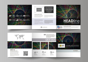 Set of business templates for tri fold square design brochures. Leaflet cover, abstract flat layout, easy editable vector. Bright color lines, colorful beautiful background. Perfect decoration.