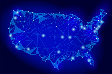 United States of America map low poly style. Connected dots communication mesh wire point line dark blue night abstract background vector triangle illustration
